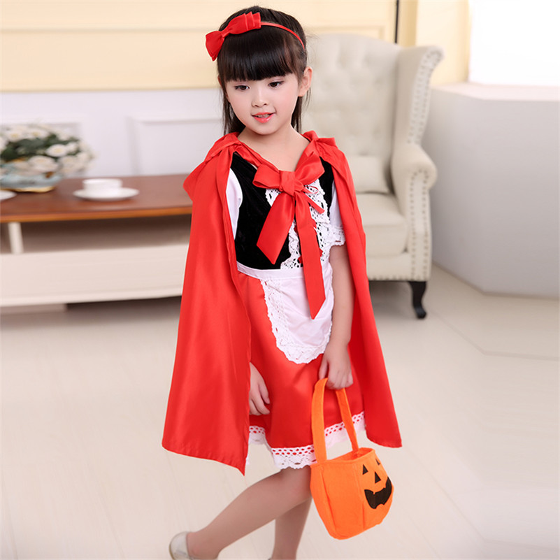 Children girl Little Red Riding Hood Costume fancy dress for kids Girls cosplay dress princess halloween costume hood cape child