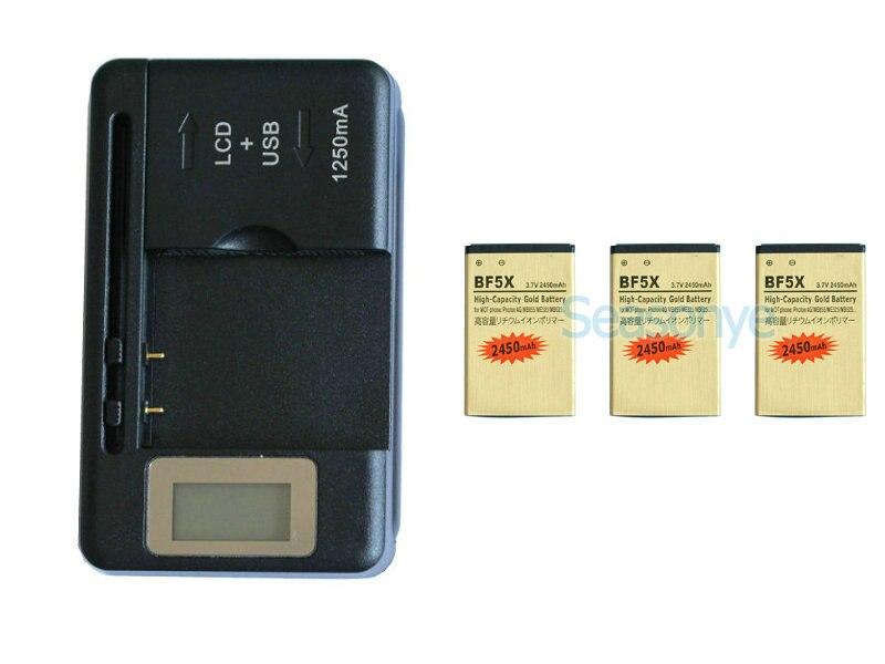 Seasonye 3x2450 мАч BF5X/SNN5877A Золото Замена литий-ионный Батарея + ЖК-дисплей Зарядное устройство для Motorola Photon 4 г MB855 ME525 MB525 т. д.