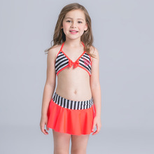 New Kids Two Pieces Bikini Set Beachwear Cute Girl Children Swimsuit Stripe Bowknot Swimwear Swimming Bathing Suit For Baby Girl