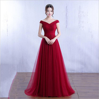 Plus Sizes Evening Dresses Pretty off shoulder Pink Wine red Colors Simple Formal Evening Gown Party Dress Robe De Soiree 2019