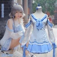 לבן הכחול Vocaloid קוספליי נשים מתוקות לוליטה Luotianyi צריך כבוי שמלת ליל כל הקדושים תלבושות