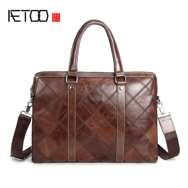 AETOO Men's first layer of leather hand-held cross-business briefcase fashion shoulder Messenger bag trend men bag men s leather oblique cross chest packs of the first layer of leather deer pattern men s shoulder bag korean fashion men s bag