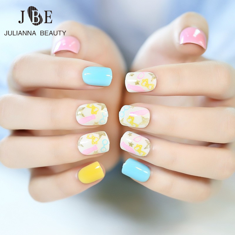 ღ ღ24Pcs/Set False Nails With Glue Candy Color French Nail Art ...