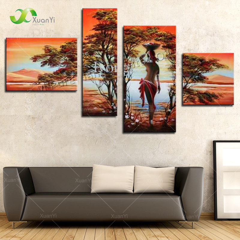 4 Panel Abstract Hand Painted African Women Landscape Painting Cuadros Decoracion Wall Pictures