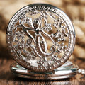 Fashion Mermaid Flower Retro Necklace Gift Silver Pendant Casual Chain Antique Style Trendy Pocket Watch Hollow  Women