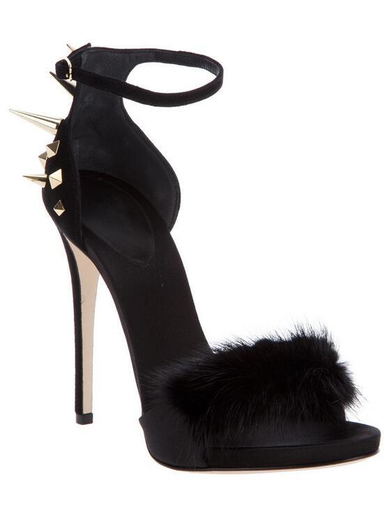 где купить Hot sale party shoes sweet fur covered romantic fur sandals women high heel summer newest style dress shoes по лучшей цене