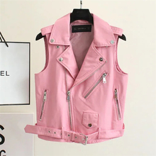 2016 Fashion Leather Vest Womens Sleeveless Leather jacket Turn-Down Collar Pockets  PU vest Waistcoat leather coat Top A769