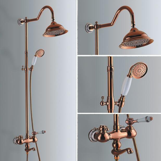 Gold Rain Shower Head. Luxury Bathroom Rose Gold Brass Rain Shower Set  Faucet European style Bath