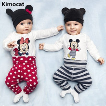2018 newborn Baby's Sets 3pcs Summer Casual Cotton Boys Clothes Cartoon Mickey Long Sleeve Bodysuits+Pants+Hat Baby Girls Cloth(China)