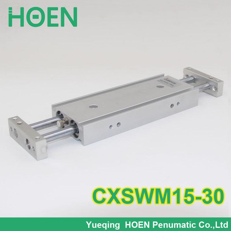 CXSM CXSJ CXSW series CXSWM15-30 15mm bore 30mm stroke dual rod cylinder slide bearing double rod pneumatic cylinder CXSW15-30 cxsm32 30 high quality double acting dual rod piston air pneumatic cylinder cxsm 32 30 32mm bore 30mm stroke with slide bearing