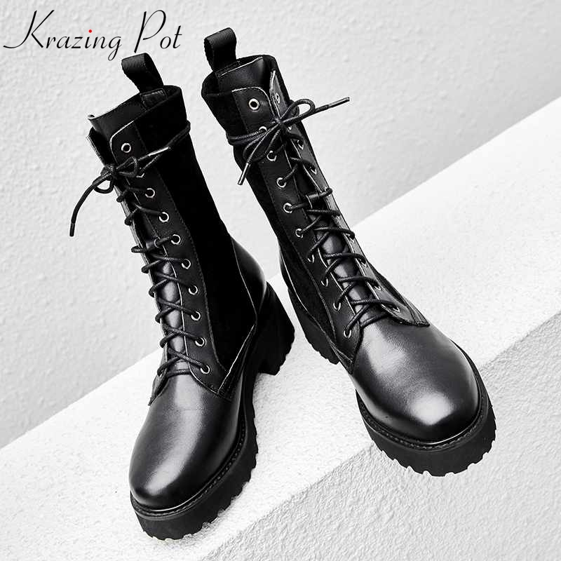 Krazing Pot 2018 full grain leather Western motorcycle boots women round toe rock punk design solid women cowboy ankle boots L66 цена