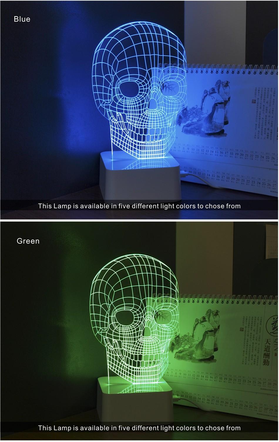 3d White Line Shadeless Terror Skull Dimmable 3d Led Light Bed Room Lamp  (4)