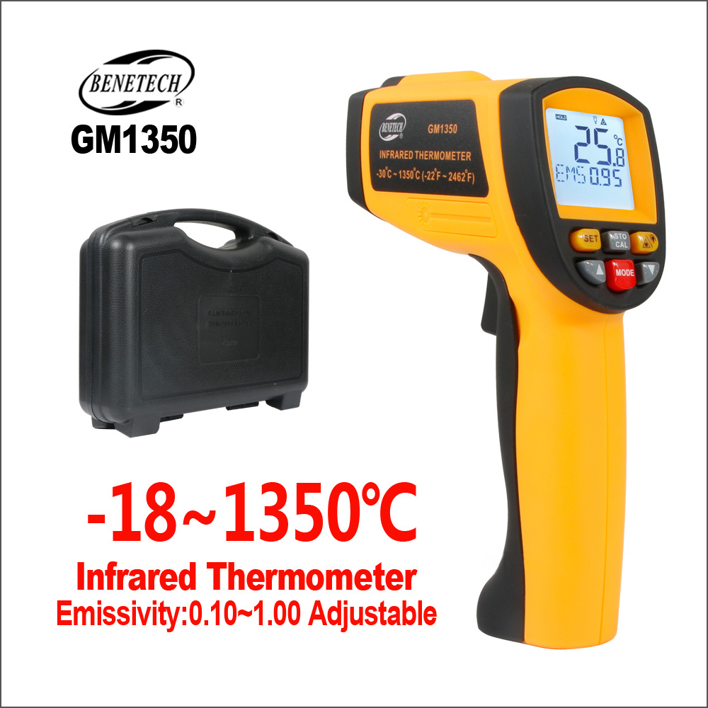 BENETECH Thermometer IR Infrared Digital Temperature Sensor Humidity Meter Handheld Industrial GM1350 50:1 Laser Thermometer