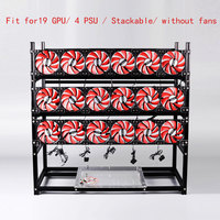 Stackable Computer Fame 19 Graphics Card GPU USB PCI E Cable Computer Case BTC LTC ETC Coin Mining Rig Frame Server Chassis