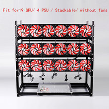 Stackable Computer Fame 19 Graphics Card GPU USB PCI-E Cable Computer Case BTC LTC ETC Coin Mining Rig Frame Server Chassis