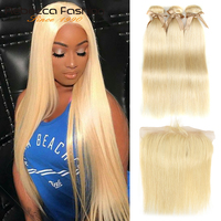 Rebecca 613 Blonde Bundles With Frontal Straight Human Hair Bundles Blonde Brazilian Hair Weave 3 Bundles With Frontal Closure