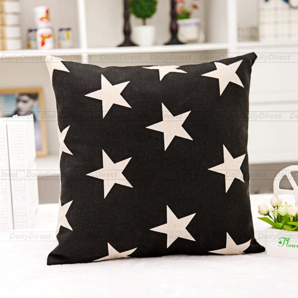 1x Vintage Black Stars Pillow Cover Composite Linen Fashion Cushion Case 42x42cm Home De ...