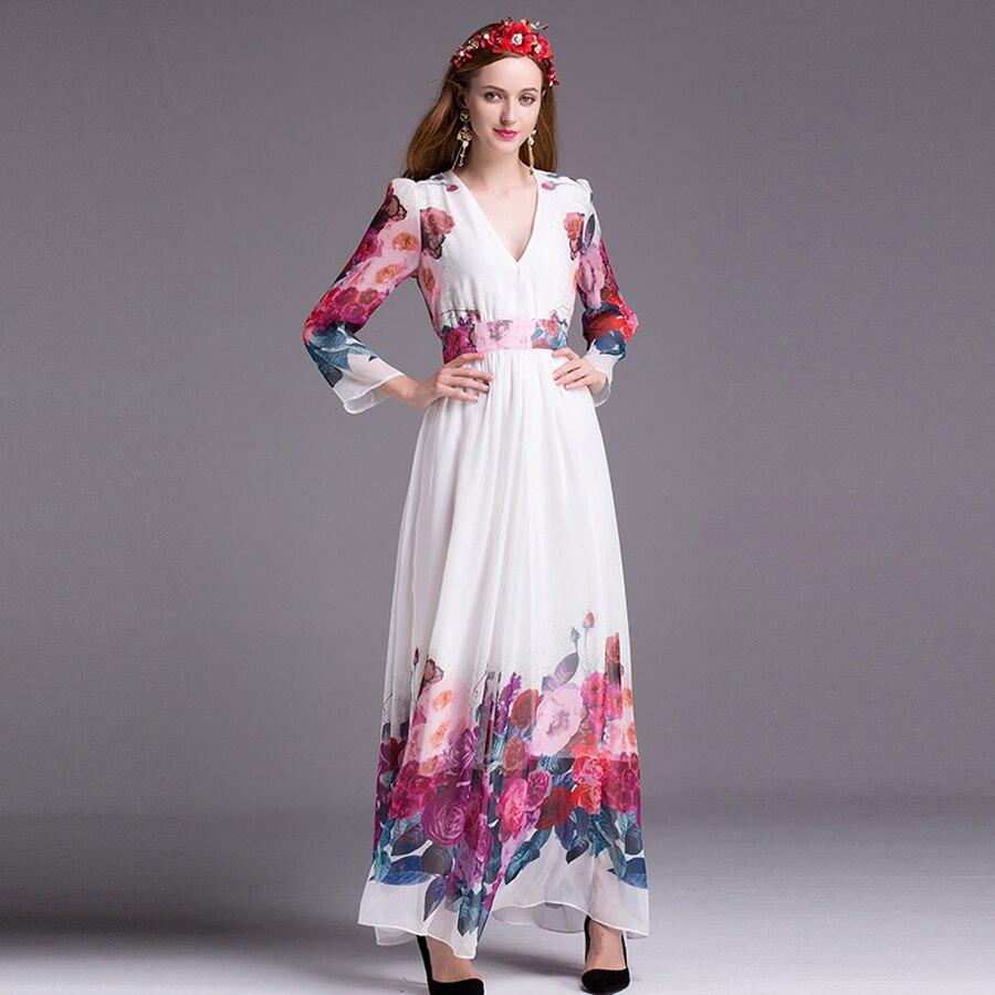 Fleurs Blanc Photo As Femmes Vente Robe Robes Col Empire D'été Mode Bohème À Chaude cou Longue De V Longues Manches 2018 V Imprimer Vacances wPgxHf