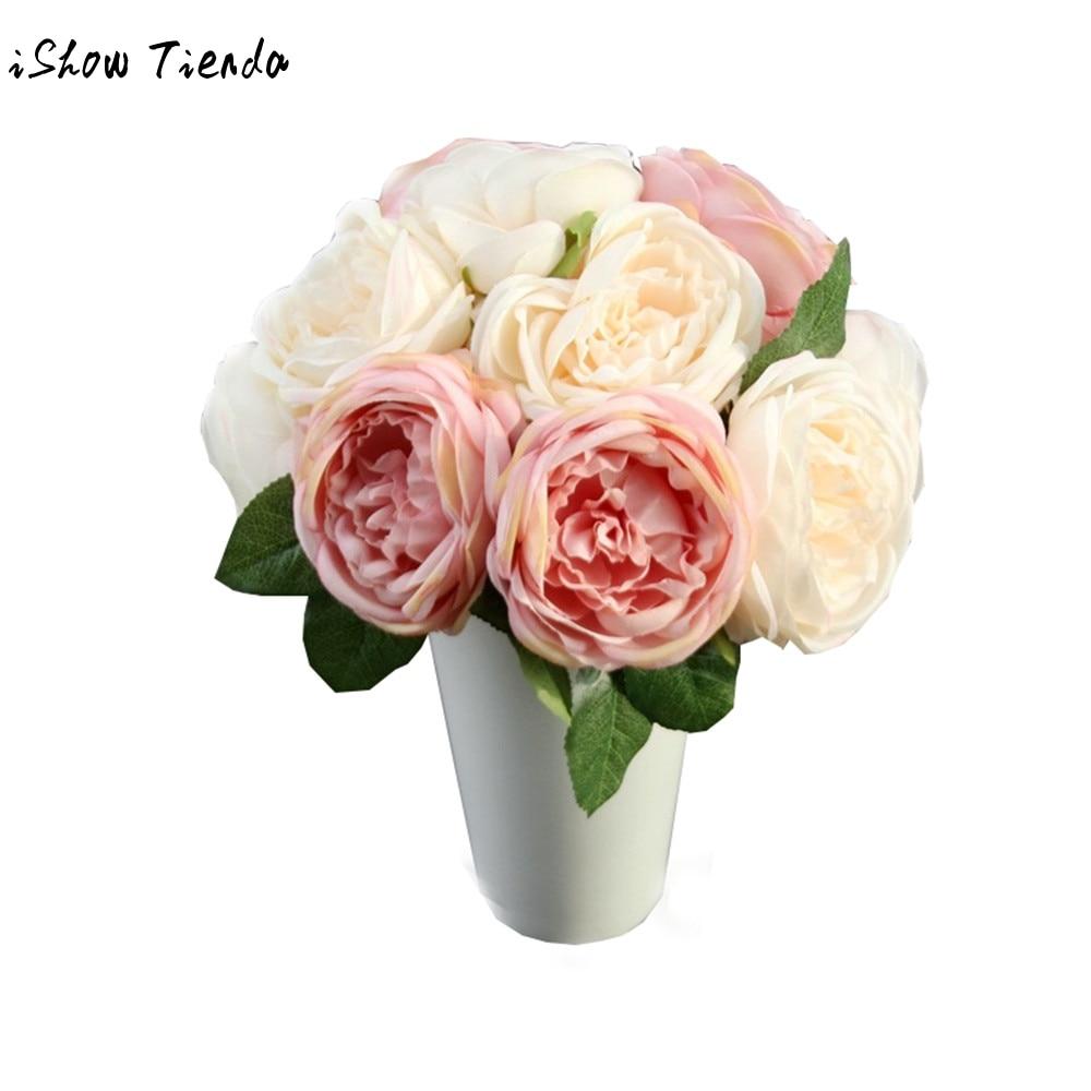 Artificial Rose Silk Fake Flowers 5 Flower Head Leaf Garden Decor