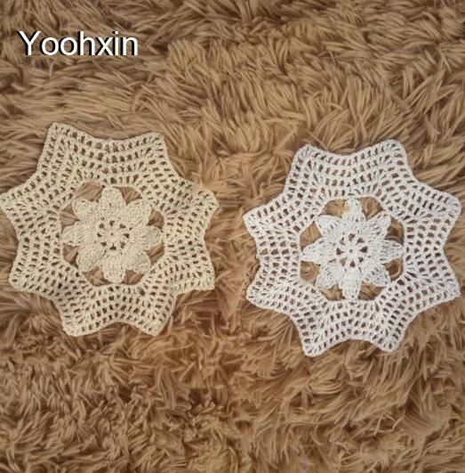 Modern round cotton placemat cup coaster mug holder dining kitchen drink table place mat cloth lace Crochet Christmas doily pad