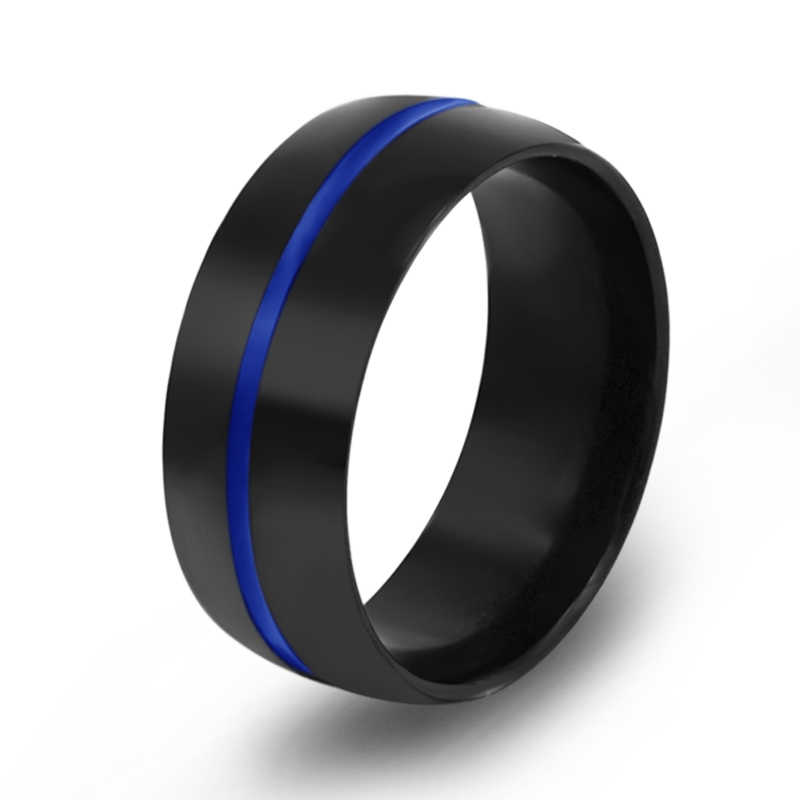 ผู้ชายสีแดง/สีฟ้าลายสแตนเลสแหวนคู่แต่งงานวันเกิดของขวัญแหวนแฟชั่นเครื่องประดับ
