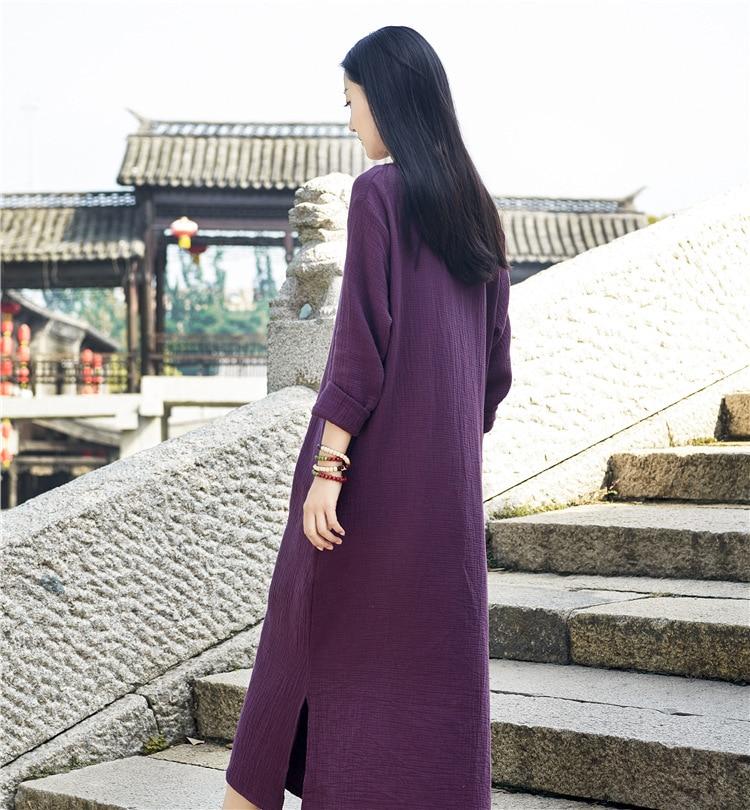Boucle Nouveau Printemps 2018 Coton rouge Femmes De Vintage Original D'été Lin Longues Bxf2295 blanc Main Et À Robe La Pourpre Manches 7wH0Idnqr0