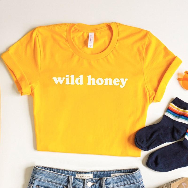ab45bb1ba4801 US $8.5 30% OFF|Wild Honey T Shirt Women Hipster Tshirt Bohob Camping 70s  Clothing Good Vibes Graphic Honey Tee Trendy Yellow Fashion Tops-in  T-Shirts ...