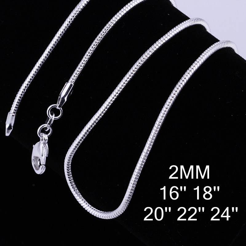 2MM Snake Chain Silver With S925 Sterling Silver Chain Necklace Wholesale Price Pure 925 Sterling Silver 16 18 20 22 24 Inch