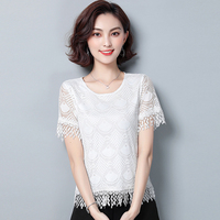 women Lace Hollow Out Tops shirts 2019 summer new Sexy Short sleeve O Neck Blouses temperament plus size Women Clothing XXXL