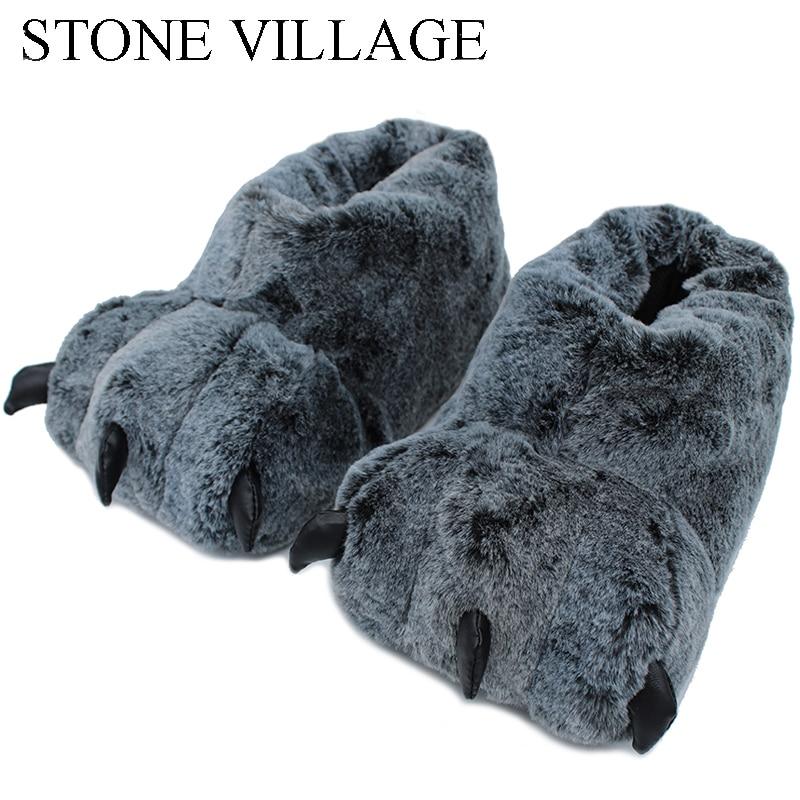 Alta calidad zapatillas pata Funny Animal zapatillas mujer invierno Monster Claw Plush inicio zapatilla suave piso interior zapatos