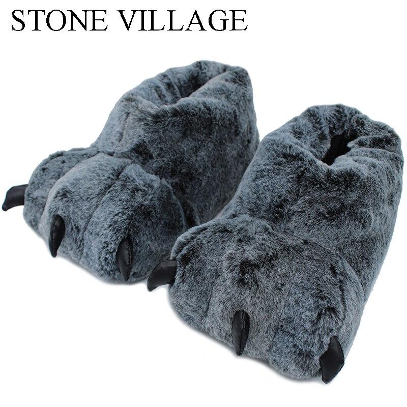 Alta qualidade chinelos de pata engraçado animal chinelos de inverno feminino monstro garra de pelúcia casa chinelo sapatos de assoalho macio interior