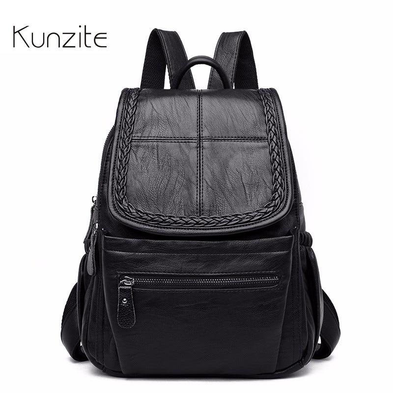 Kunzite Brand Women Leather Backpacks for Girls Designer Vintage School Bags For Ladies Solid New Travel