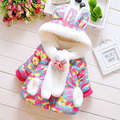 Baby girl clothes thick cotton-padded jacket coat parkas for Winter 2016 baby girl wear clothing brand hooded outerwear overcoat