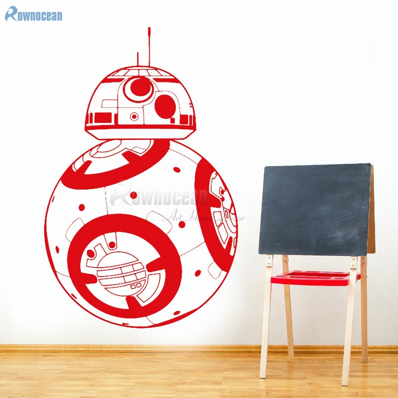 DIY Star Wars Cartoon Movie Robot BB-8 Wall Stickers Vinyl Home Decor Geek Gamer Removable Wallpaper Decoration Kids Room X-25 ...