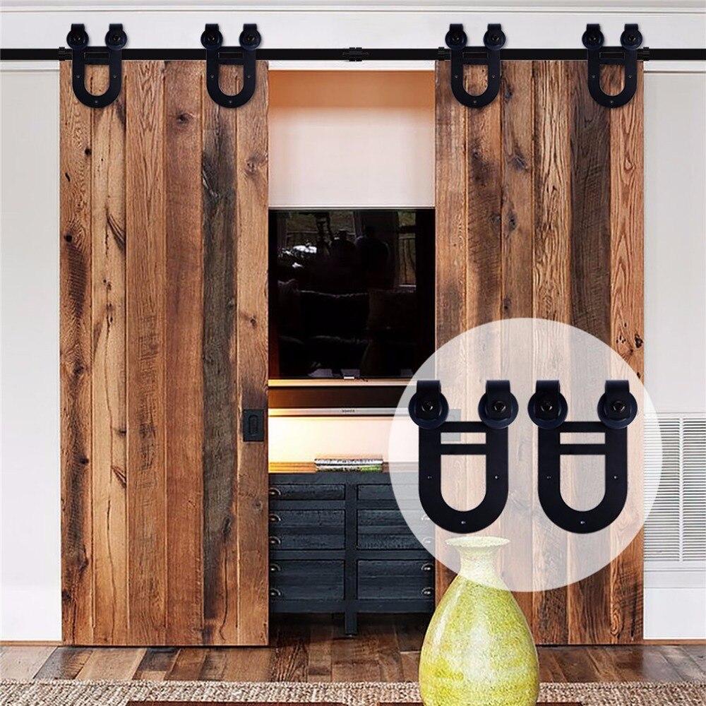 LWZH 10ft 11ft 12ft Sliding Barn Wood Door Hardware Set Closet Sliding Door Double Hourse Shaped Track Roller For Double Door