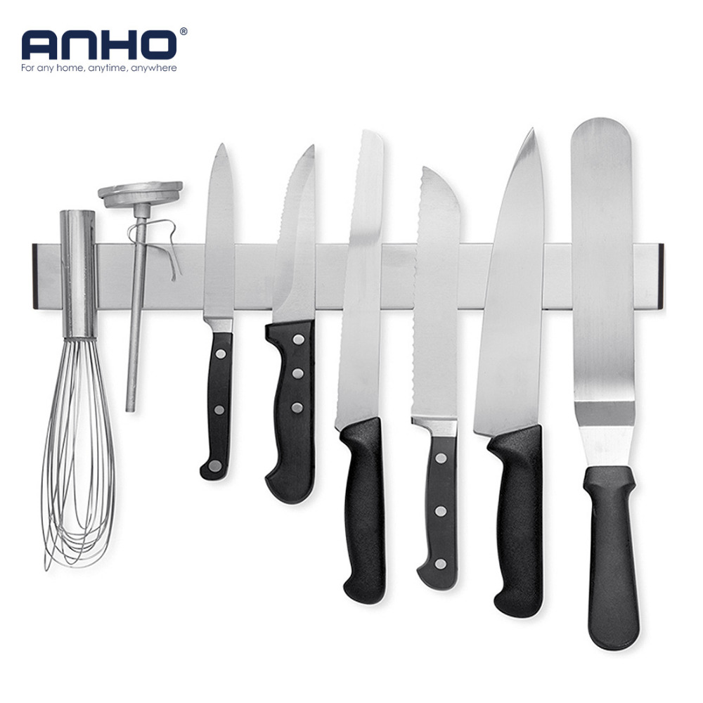 ANHO Knife Holder Magnetic 16 inch Wall Strip Stainless Steel Knife Block Storage Scissor Rack Bar Kitchen Utensil Accessories(China)
