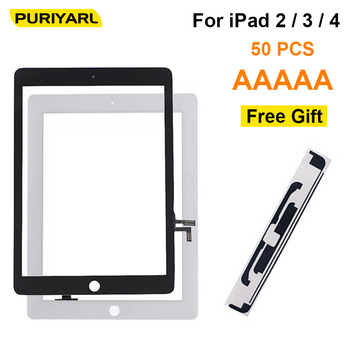 50PCS AAA+++ High Quality Touch Screen Digitizer Replacement For iPad 2 3 4 Front Display Glass Assembly Without Home Button IC
