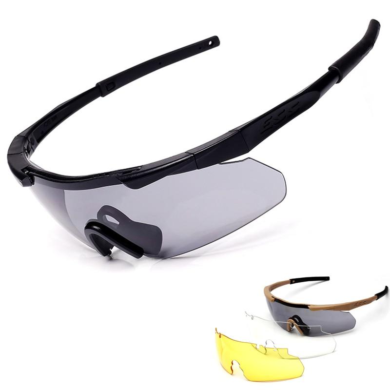 Prix pour Gafas Ciclismo Nouveau Ess Arbalète Tr90 Militaire Lunettes 3 Lentille Balistiques Sport Hommes lunettes de Soleil Armée Bullet-preuve Lunettes de Tir