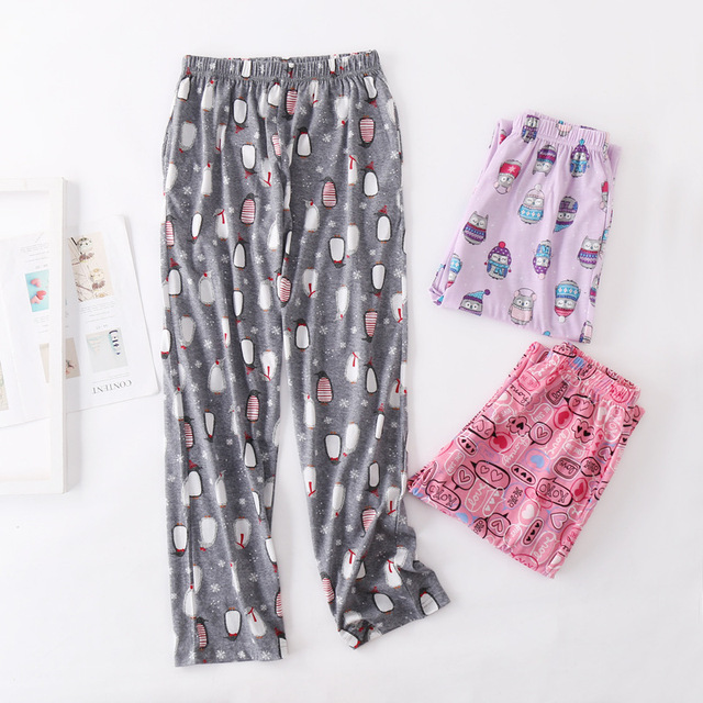 2019 Spring 100% cotton Women sleep bottoms Female loose plus size nighty trousers  sleepwear pyjama Ladies Cartoon pajama pants 341b97d00