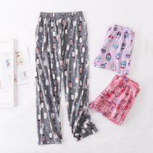 Pajama-Pants Sleep-Bottoms Trousers Sleepwear Plus-Size Women Ladies 100%Cotton Cartoon