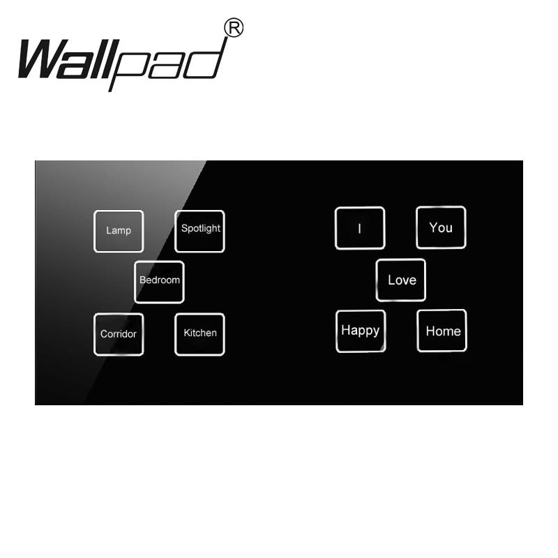 Offres Spéciales Hôtel Led indicateur 10 gangs 1 façon Noir mur tactile interrupteur de la lampe, 172*86mm DIY Bouton tactile interrupteur de lumière, Livraison Gratuite