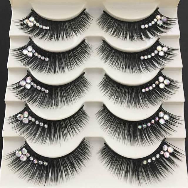 YOKPN Colored False Eyelashes Exaggerated Latin Performance Thick Fake Eyelashes Shimmery Show Color Big Eye Makeup Lashes Glue 3