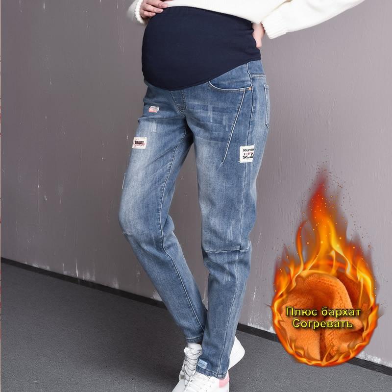 Maternity Jeans Plus Velvet keep warm pregnant jeans winter women pencil pants Pregnancy clothing 5XL size high waist trousers autumn women jeans high waist stretch ankle length slim pencil pants fashion female jeans laciness jean femme trousers wiccon