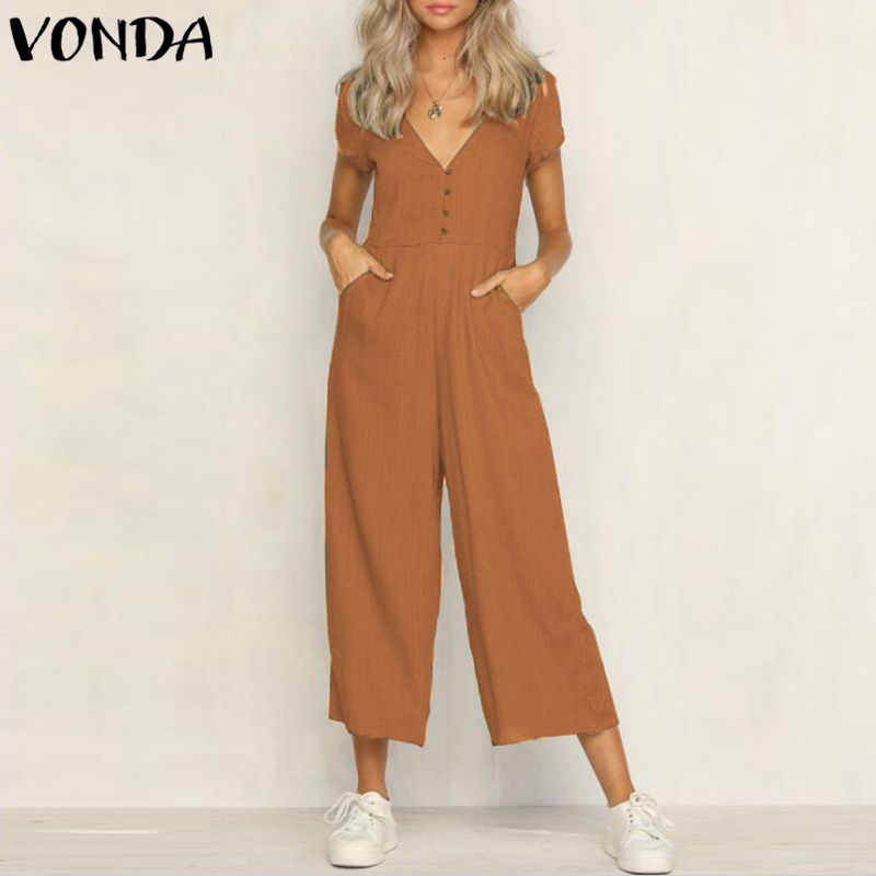 VONDA Rompers Womens   Jumpsuit   2018 Summer Sexy V Neck Short Sleeves Button Pockets Overalls Casual Cotton Coveralls Plus Size