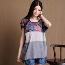 Women's Clothing Fashion Shirt Loose Short-sleeved Linen T-shirt Casual O-Neck Regular Length Female tops Plus Size 5XL