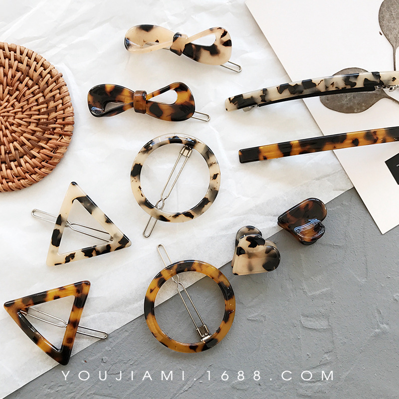 2019 New Woman Simple Tortoiseshell Hair Clip Retro Leopard Print Amber Geometric Bow Fringe Clip Girls Hair Accessories