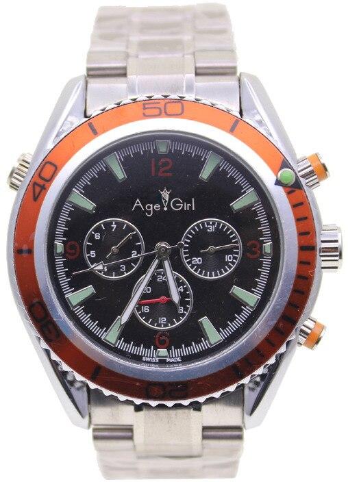 Bracelet de luxe en acier inoxydable pour hommes mécaniques de luxe avec lunette Orange en caoutchouc noir montres James Bond 007 Style