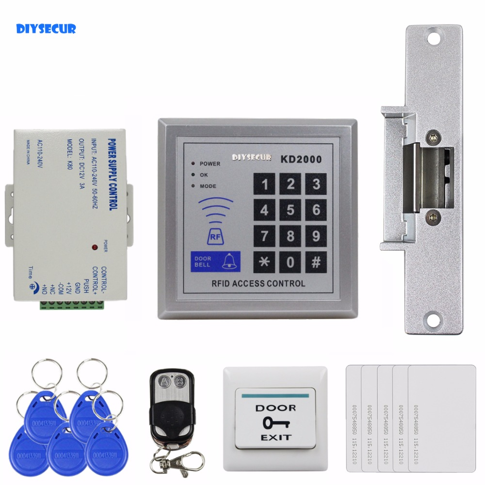 DIYSECUR DIY Full Kit Set 125KHz RFID Keypad Access Control System Security Kit + Electric Strike Lock KD2000 diysecur 125khz rfid metal case keypad door access control security system kit electric strike lock power supply 7612