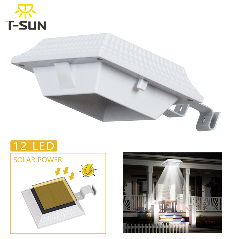 T-SUNRISE LED Solar Gutter Light Solar Powered Waterproof White Fence Wall Light For Garden Yard Roof Security Solar Sensor Lamp
