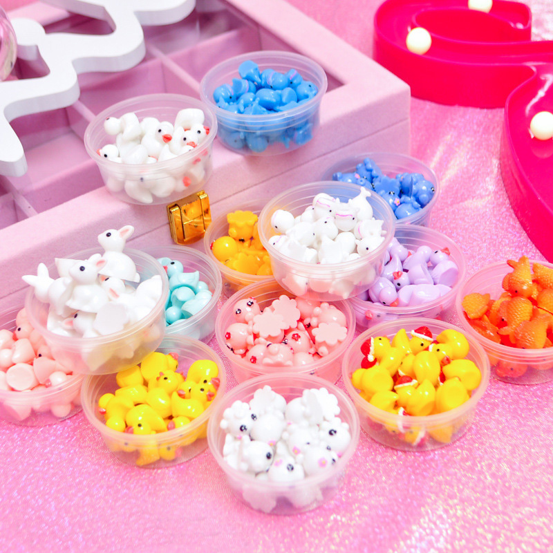 Cute 10pcs/box Slime DIY Accessories Toy Resin Octopus Duck Whale Fluffy Clear Slime Supplies Gift Toy For Children Adult